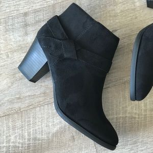 Osprey Black Knot Faux Suede Heeled Ankle Bootie